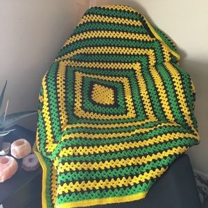 Vintage Hand Made Granny Square Crochet Afghan